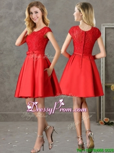 Gorgeous Scoop Cap Sleeves Red prom Dress with Lace and Bowknot