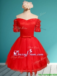 Comfortable Off the Shoulder Short Sleeves Red Dama Dress with Appliques and Belt
