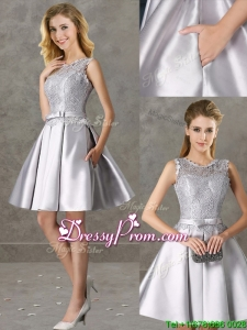 Fashionable Light BlClassical Laced and Bowknot Scoop Dama Dress in Silver