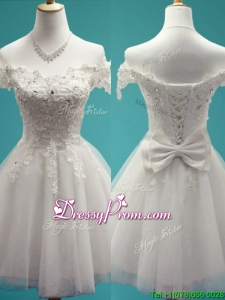 Gorgeous White Off the Shoulder Cap Sleeves Dama Dress with Beading and Bowknot