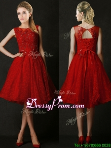 Modest Knee Length Red Dama Dress with Beading and Appliques