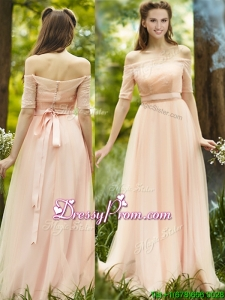 Fashionable Off the Shoulder Half Sleeves Prom Dress with Ribbons