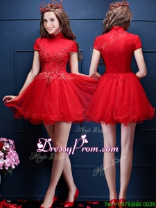 Luxurious High Neck Short Sleeves Prom Dress with Appliques and Beading