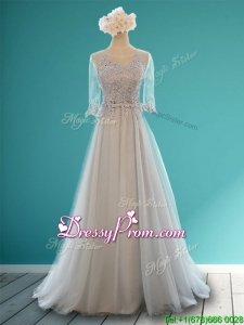 Luxurious Scoop Half Sleeves Grey Prom Dress with Appliques and Belt