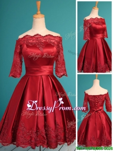Romantic Off the Shoulder Half Sleeves Prom Dress with Lace and Belt