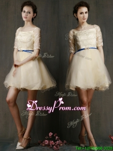 Romantic Square Half Sleeves Prom Dress with Sashes and Lace