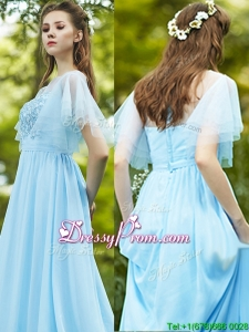 See Through Bateau Short Sleeves Prom Dress with Appliques