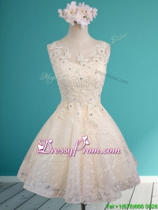 See Through Scoop Short Prom Dress with Beading and Appliques
