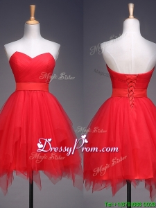 Wonderful Ruffled and Belted Short Prom Dress in Red