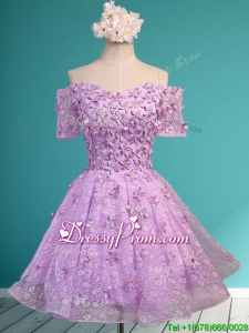 assical Off the Shoulder Lilac Prom Dress with Appliques and Beading