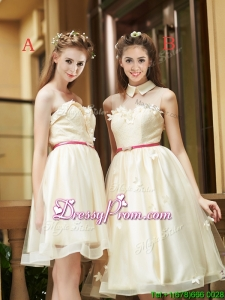 Best Selling Champagne Organza Prom Dress with Appliques and Sashes