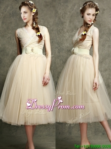 Cheap Champagne V Neck Prom with Belt and Bowknot