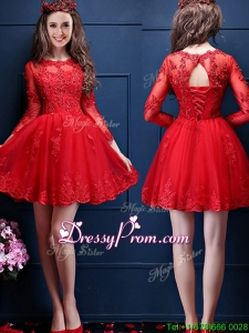 Classical Scoop Three Fourth Length Sleeves Short Prom Dress with Beading and Lace