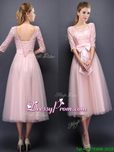 Most Popular Scoop Half Sleeves Baby Pink Prom Dress with Bowknot