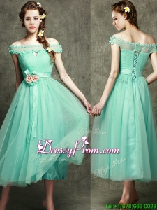 Romantic Off the Shoulder Cap Sleeves Prom Dress with Appliques and Hand Made Flowers