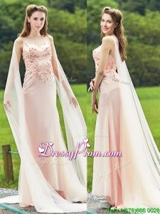 Unique Bateau Watteau Train Light Pink Prom Dress with Applique