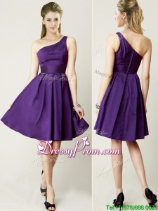 Beautiful One Shoulder Purple Short Prom Dress for Summer