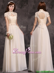 Hot Sale High Neck Champagne Prom Dress with Appliques and Lace