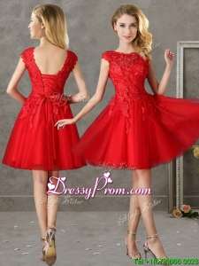 Romantic Bateau Cap Sleeves Short Prom Dress with Lace