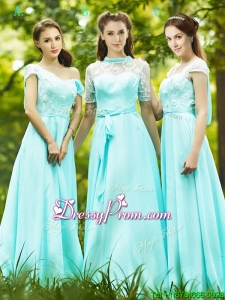 Lovely Chiffon Empire Long Prom Dress in Apple Green