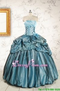 2015 Cheap Strapless Custom Made Quinceanera Dresses in Teal