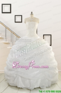 Custom Made and Puffy White Beading Quinceanera Dresses for 2015