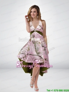 2015 Beautiful Multi Color High Low Camo Prom Dresses with Sashes