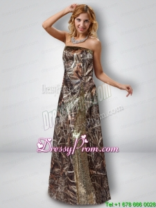 2015 Exquisite Column Strapless Camo Prom Dresses with Sequins