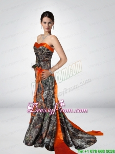 2015 Luxurious Column Strapless Camo Prom Dresses with Hand Made Flower
