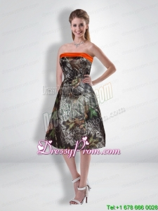 2015 Popular Short Strapless Knee Length Camo Prom Dresses