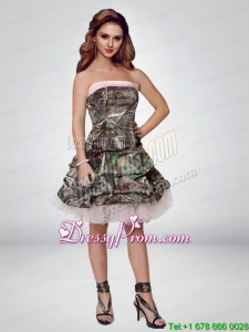 2015 Popular Short Strapless Camo Prom Dresses with Ruching