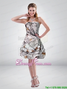 2015 Popular Short Strapless Mini length Camo Prom Dresses with Ruching