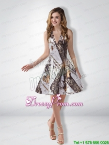 Popular A Line Halter Camo Prom Dresses with Ruching