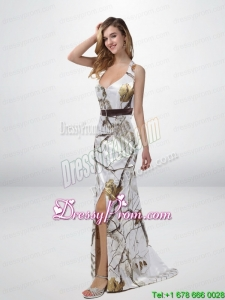Popular Column Halter Top Camo Prom Dresses with Sashes