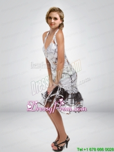 Popular Column Halter Top Tea Length Camo Prom Dress with Ruffled Layers