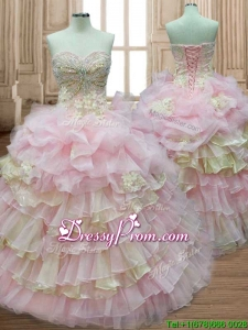 Discount Applique and Ruffled Layers Quinceanera Dress in Baby Pink and Yellow