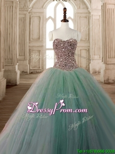 Discount Beaded Bodice A Line Quinceanera Dress in Apple Green