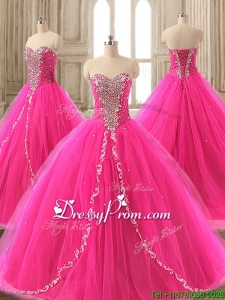 Elegant Beaded Hot Pink Sweet 16 Gown with Brush Train