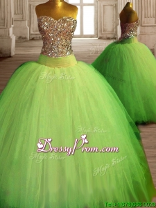 Fashionable Spring Green Big Puffy Quinceanera Dress with Beading
