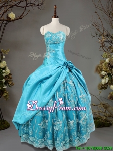 Luxurious Hand Made Flowers and Laced Quinceanera Dress in Baby Blue
