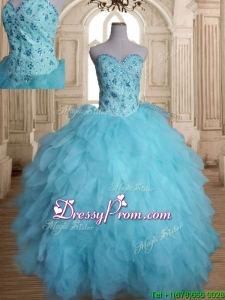 Latest Beaded and Ruffled Tulle Quinceanera Dress in Baby Blue