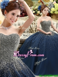2016 Classical Beaded Bodice Sweet 16 Dress in Navy Blue
