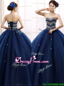 2016 Discount Rhinestoned Really Puffy Quinceanera Dress in Navy Blue