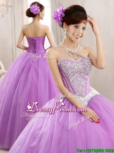 2016 Hot Sale Lilac Really Puffy Tulle Quinceanera Dress with Beading
