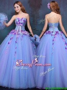2016 Wonderful Really Puffy A Line Quinceanera Dress with Appliques and Bowknot