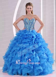Ruffles and Beaded Decorate Sweetheart Long Quinceanera Dresses with Lace Up