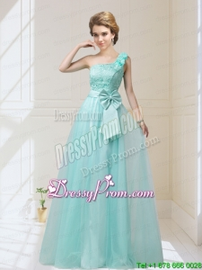 2015 Luxurious One Shoulder Prom Dresses with Hand Made Flowers and Bowknot