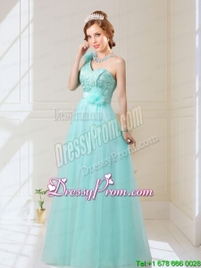 2015 Summer Beautiful Empire Lace Up Hand Made Flowers Dama Dresses in Mint