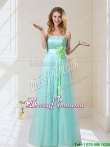 Beautiful 2015 Summer Empire Strapless Prom Dresses with Hand Made Flowers