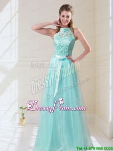 Elegant 2015 Summer Empire Halter Top Laced Mint Prom Dresses with Sash